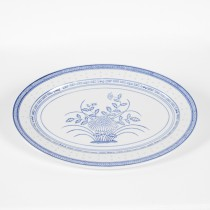 "Porcelain Blue and White Rice Pattern 14"" Oval Platter"