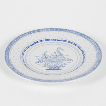 "Porcelain Blue and White Rice Pattern 9"" Round Plate"