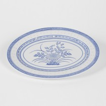 "Porcelain Blue and White Rice Pattern 12"" Oval Platter"