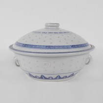 Porcelain Blue and White Rice Pattern Soup Bowl W/ Lid 9""