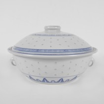 Porcelain Blue And White Rice Pattern Soup Bow W/ Lid 11""