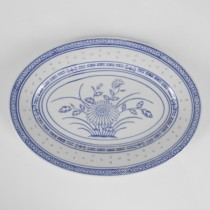 Porcelain Blue and White Rice Pattern Oval Platter 9""