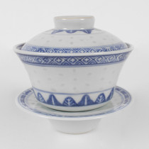 Porcelain Blue and White Rice Pattern Covered Bowl W/ Tray