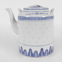 Porcelain Blue and White Rice Pattern Tea Pot Big