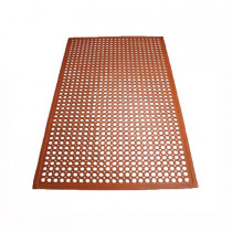 "Winco RBM-35R Grease Proof Floor Mat w/ Beveled Edges, Rubber, 3 x 5 x .5"", Red"